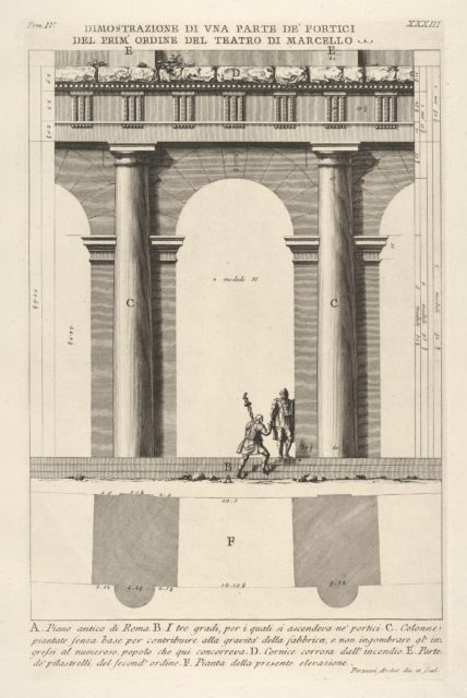 Partial elevation and plan of the first-order portico at the Theater of Marcellus (Dimostrazione di una parte de' portici del prim' ordine del Teatro di Marcello), from 'Le Antichità Romane'