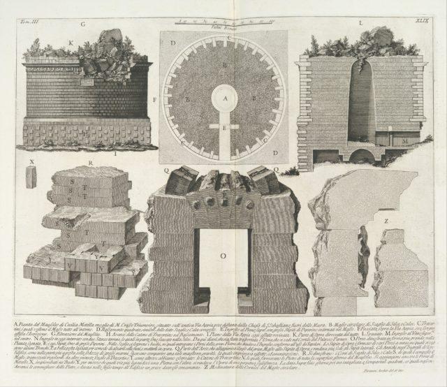 Plan of the Mausoleum of Caecilia Metella, wife of the Triumvir Marcus Crassus...,  from Le Antichità Romane (Roman Antiquities), tome 3, tavola 49