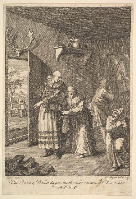 The Curate and the Barber Disguising Themselves to convey Don Quixote Home (Six Illustrations for Don Quixote)