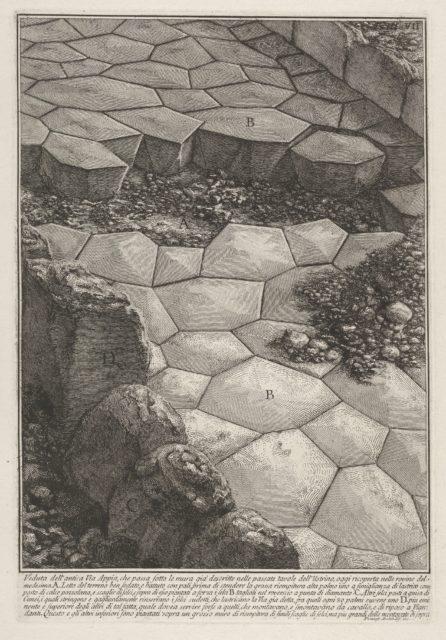 View of the stone pavement of the Appian Way (Veduta dell'antica Via Appia), from the series 'Le Antichità Romane'