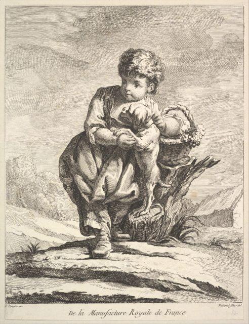 Child with a dog, holding a basket of grapes, from Premier Livre de Figures d'après les porcelaines de la Manufacture Royale de France, inventées en 1757, par Mr. Boucher (First Book of Figures after porcelains from the Manufacture Royale de France, devised in 1757, by Mr. Boucher)
