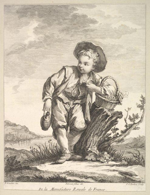 Little boy holding a basket of grapes, from Deuxième Livre de Figures d'après les porcelaines de la Manufacture Royale de France (Second Book of Figures after porcelains from the Manufacture Royale de France)
