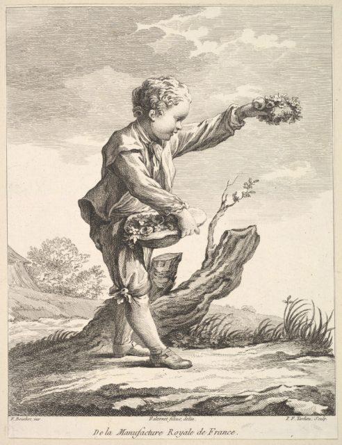 Little boy holding a wreath and basket of flowers, from Deuxième Livre de Figures d'après les porcelaines de la Manufacture Royale de France (Second Book of Figures after porcelains from the Manufacture Royale de France)