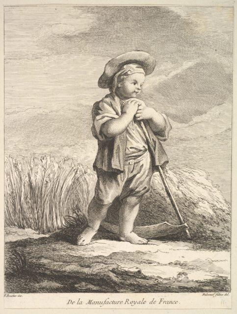 Little boy with a scythe, from Premier Livre de Figures d'après les porcelaines de la Manufacture Royale de France, inventées en 1757, par Mr. Boucher (First Book of Figures after porcelains from the Manufacture Royale de France, devised in 1757, by Mr. Boucher)