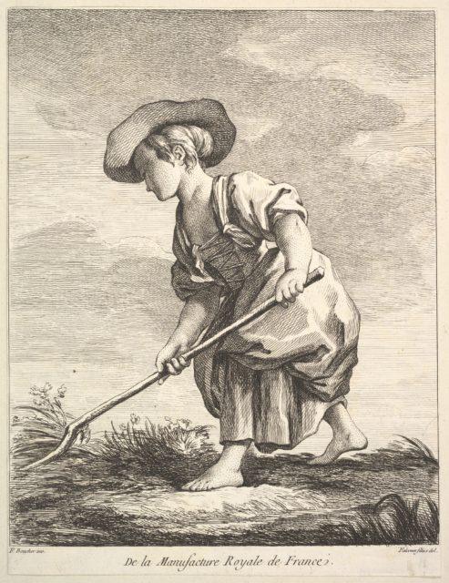 Little girl doing farm work, from Premier Livre de Figures d'après les porcelaines de la Manufacture Royale de France, inventées en 1757, par Mr. Boucher (First Book of Figures after porcelains from the Manufacture Royale de France, devised in 1757, by Mr. Boucher)
