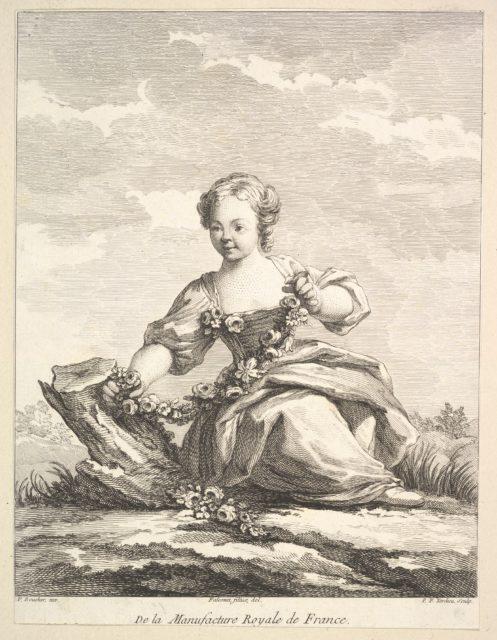Little girl holding a garland of flowers, from Deuxième Livre de Figures d'après les porcelaines de la Manufacture Royale de France (Second Book of Figures after porcelains from the Manufacture Royale de France)