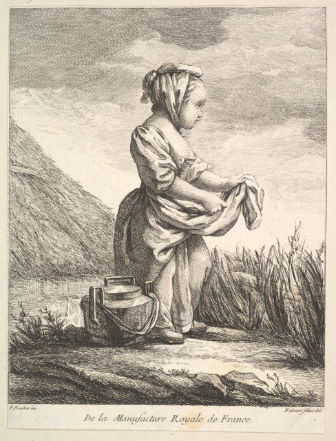 Little girl with a vessel by her feet, from Premier Livre de Figures d'après les porcelaines de la Manufacture Royale de France, inventées en 1757, par Mr. Boucher (First Book of Figures after porcelains from the Manufacture Royale de France, devised in 1757, by Mr. Boucher)