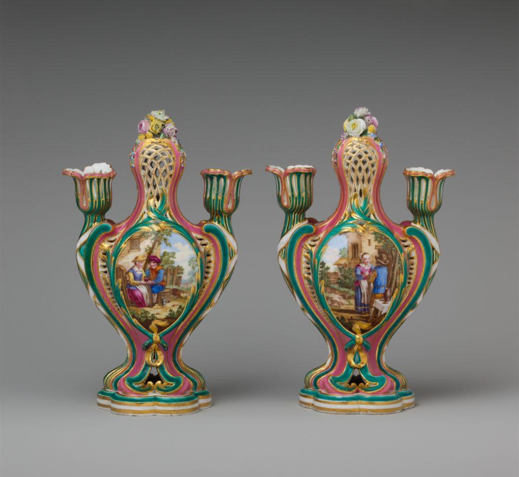 Potpourri vase with candleholders (pot-pourri à bobêche) (one of a pair)