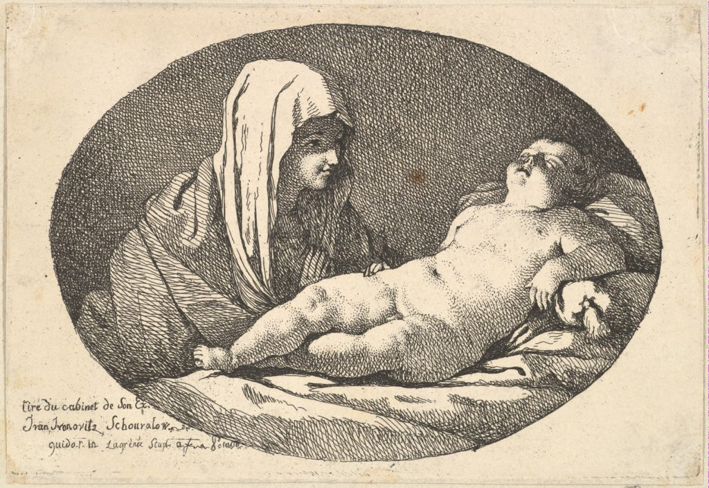 The Virgin at left watching the infant Christ as he sleeps, an oval composition, after Reni