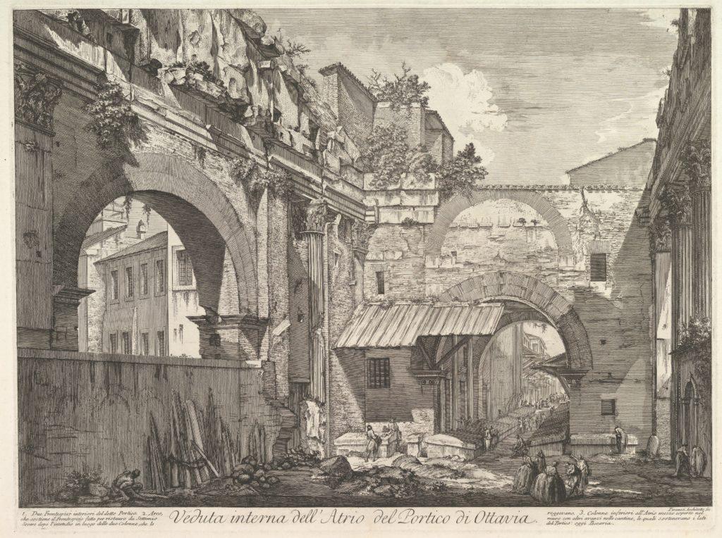 Veduta interna dell'Atrio del Portico di Ottavia (Internal View of the Atrium of the Portico of Octavia), in: 'Vedute di Roma' (Views of Rome)
