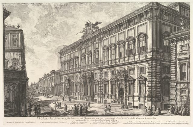 View of the Palazzo della Consulta on the Quirinal housing the Papal Secreteriat, from Vedute di Roma (Roman Views)