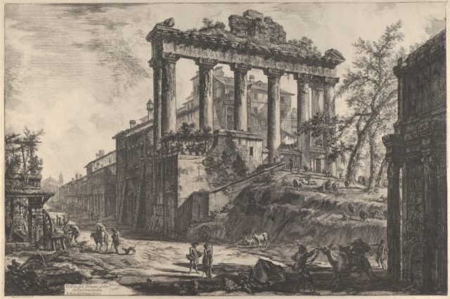 View of the so-called Temple of Concord with the Temple of Saturn, on the right the Arch of Septimius Severus