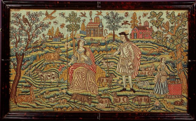Embroidered picture with pastoral scene