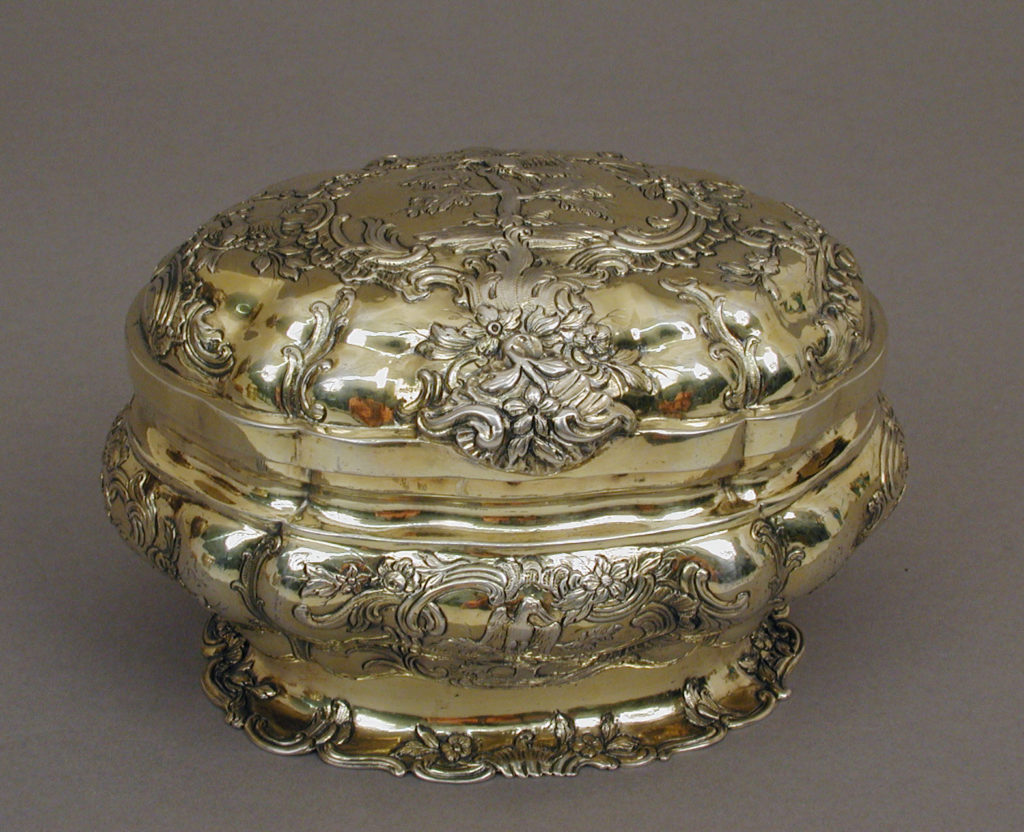 Oval box (one of a pair)