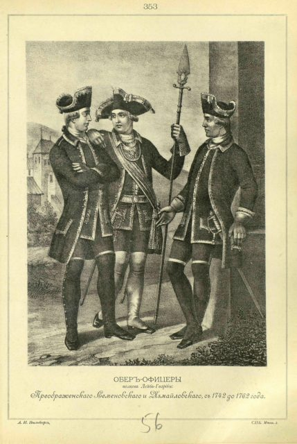 353. OBER OFFICERS of the regiments of the Life Guards: Preobrazhensky, Semenovsky and Izmailovsky, from 1742 to 1762.