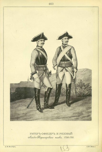Unter the Officer and Private of the Life-Cusirsky Regiment, 1756-1761.