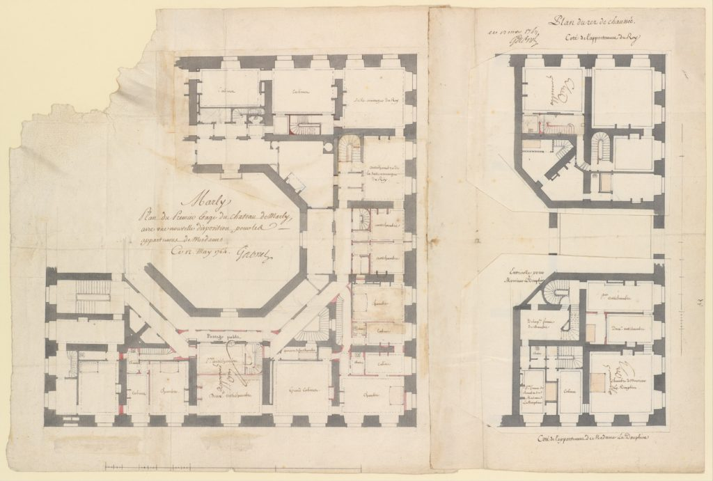 Plans of the Ground and First Floors of the Chateau of Marly