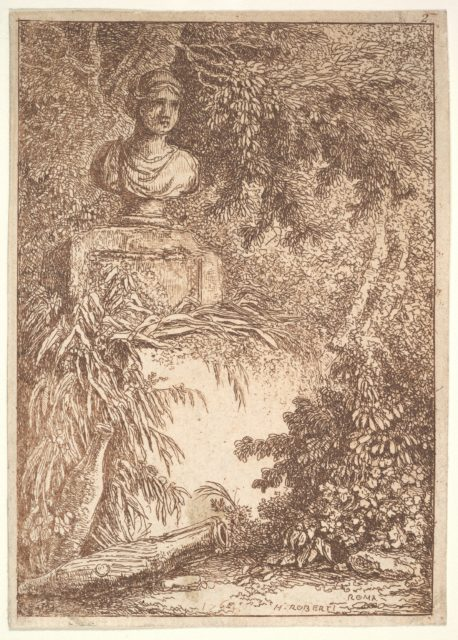 Plate 2: The Bust: a bust of a female wearing a diadem at top left, two amphoras at bottom left, surrounded by trees and greenery, from 'Les soirées de Rome'