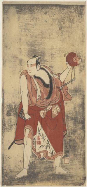 The Actor Ichikawa Komazo I as a Man Holding a Monkey Mask