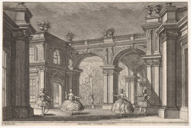 """Two ladies and two gentlemen dancing within an ornate architectural setting, a fountain at center in the background, a scene from """"Talestri, Regina delle Amazzoni"""""""