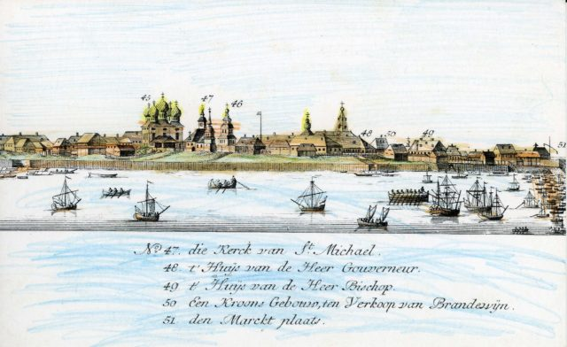 47-51. Arkhangelsk on the Dutch engraving of 1765