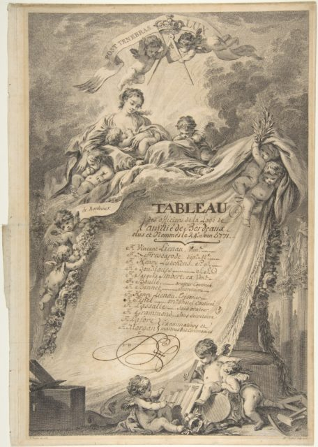 Diploma for the Freemasons of Bordeaux, after François Boucher