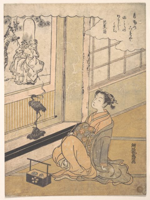 A Young Woman Seated in a Room and Looking at a Kakemono of Fukurokujin