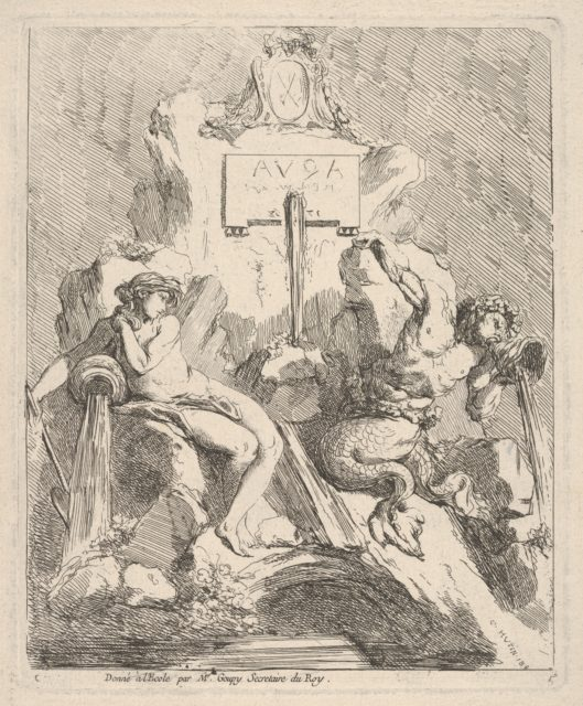 Design for a fountain with a seated nymph at left and triton holding a shell to his mouth at right