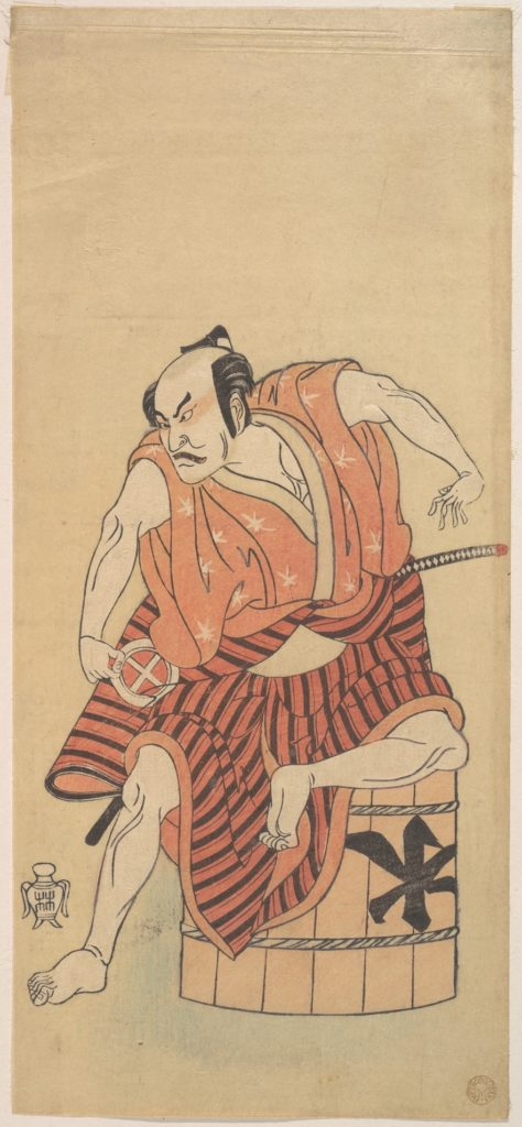 The Third Otani Hiroemon as an Otokodate Seated Upon an Inverted Tub