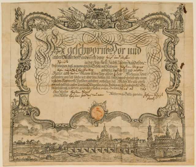 Certificate of Employment (Arbeitsbescheinigung) of the Guild of Farriers and Weaponsmiths (Huf- und Waffenschmiede) of Dresden