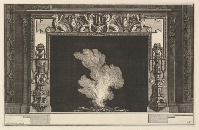 Chimneypiece: Affronted griffons on the lintel and candelabra on the jambs (Ch. accompagnée de son plan et décorée d'une frise de griffons), from Diverse Maniere d'adornare i cammini ed ogni altra parte degli edifizi...(Different Ways of ornamenting chimneypieces and all other parts of houses)