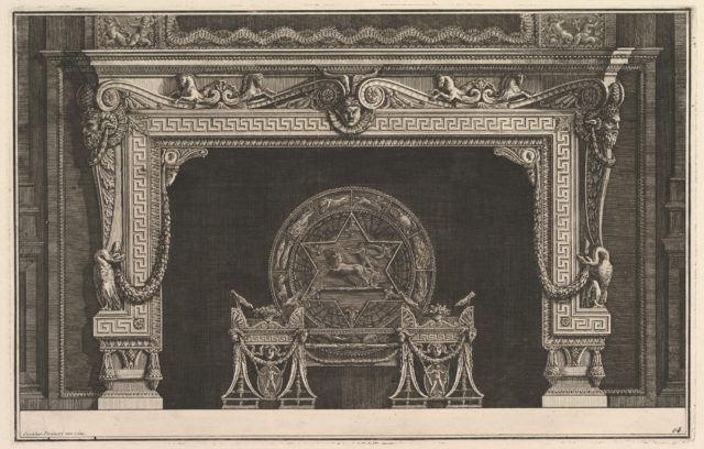 Chimneypiece: Architrave decorated with a Greek key motif and a circular fireback with figures of the zodiac (Ch. décorée d'une grecque), from Diverse Maniere d'adornare i cammini ed ogni altra parte degli edifizi...(Different Ways of ornamenting chimneypieces and all other parts of houses)