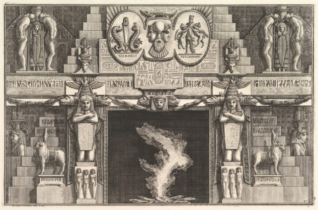 Chimneypiece in the Egyptian style: Groups of three female nudes at the base of each jamb, surmounted by larger kneeling figures), from Diverse Maniere d'adornare i cammini ed ogni altra parte degli edifizi...(Different Ways of ornamenting chimneypieces and all other parts of houses)