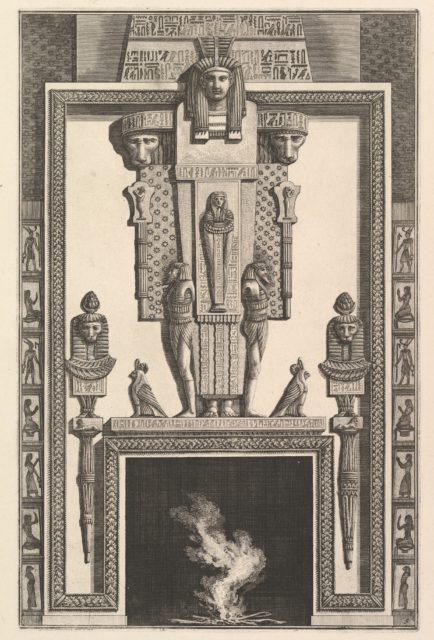 Chimneypiece in the Egyptian style: Mummy superimposed on a large caryatid above the lintel (Ch. à l'égyptiennne surmontée d'une grande cariatide contre laquelle s'applique une momie), from Diverse Maniere d'adornare i cammini ed ogni altra parte degli edifizi...(Different Ways of ornamenting chimneypieces and all other parts of houses)