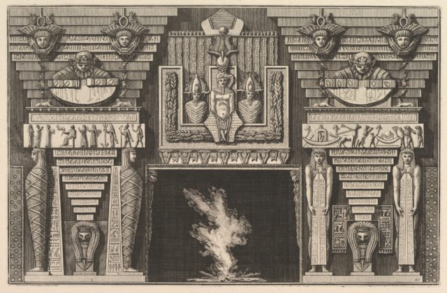 Chimneypiece in the Egyptian style: Two mummies in profile on the left and two figures brearing obelisks on the right (Ch. à l'ègyptienne), from Diverse Maniere d'adornare i cammini ed ogni altra parte degli edifizi...(Different Ways of ornamenting chimneypieces and all other parts of houses)