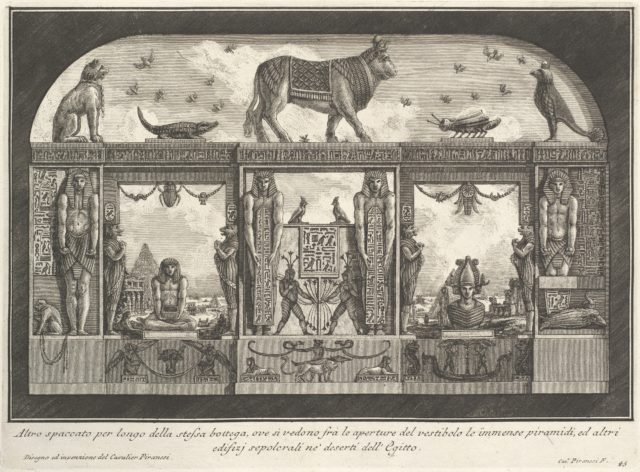 Egyptian decoration of the Caffè degli Inglesi: Animals on the cornice, including a bull at the center, from Diverse Maniere d'adornare i cammini... (Diverse Ways of ornamenting chimneypieces...)