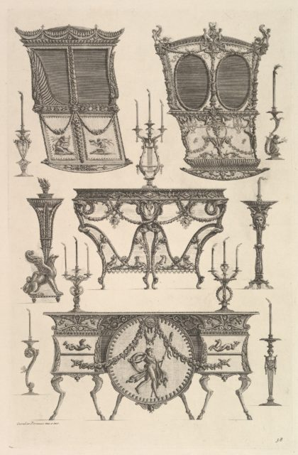Miscellaneous furniture including two sedan chairs, a side table and a commode (Deux ch. à porteurs v. de côté, console, flambeau.), from Diverse Maniere d'adornare i cammini ed ogni altra parte degli edifizi...(Different Ways of ornamenting chimneypieces and all other parts of houses)