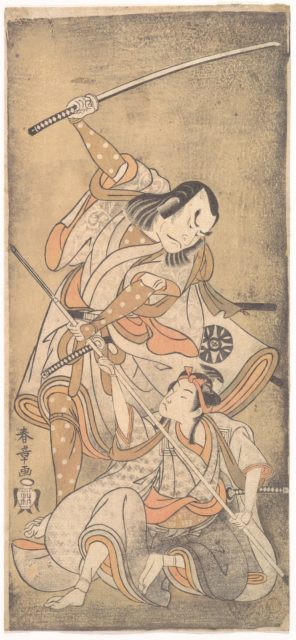 The Actor Nakamura Nakazo with a Sword, Fighting the Actor Ichikawa Raizo II who is Armed with a Lance