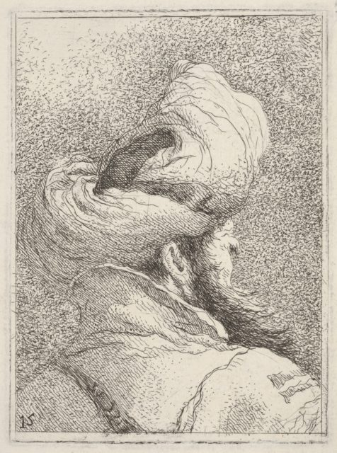 Bearded man wearing a turban, depicted in bust length from behind in three-quarters view, from the series 'Collection of heads' (Raccolta di teste)