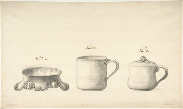 Design for a Salt Celler and Two Cups