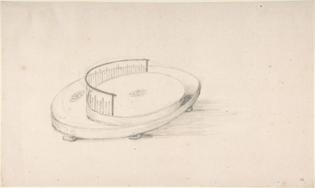Design for an Oval Serving Dish with Circular Raised Platform