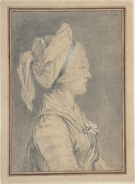 Half Figure of a Woman Wearing a Cap, in Profile to Right