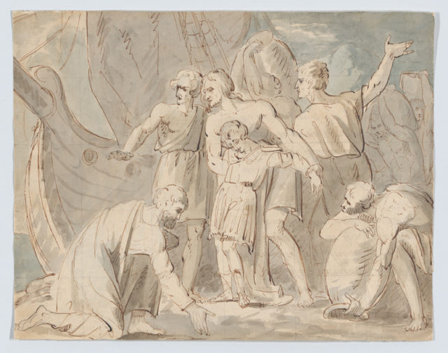 Historical Subject with Men and a Boy Near a Ship (recto); Anatomical Study of a Foot (verso)