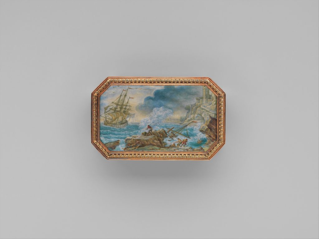 Snuffbox with six maritime scenes
