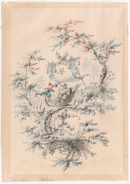 Chinoiserie Fantasy with Skaters and an Exotic Figure in an Iceboat