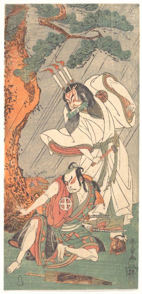 Kabuki Actors Ichimura Uzaemon IX as Ko-kakeyama and Ōtani Hiroji III as Kōga Saburō