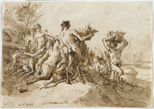 Satyrs Carrying Baskets of Provision for Their Families