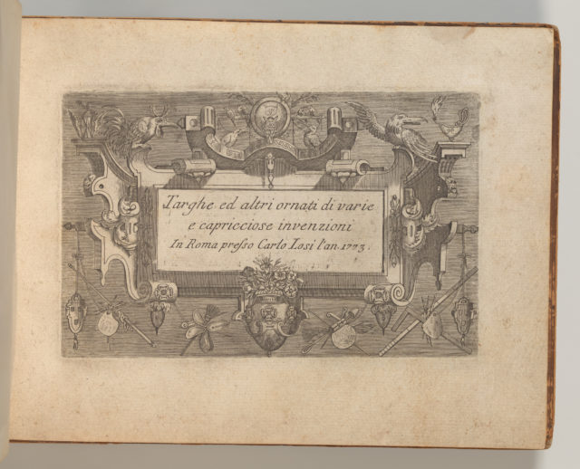 Targhe ed altri ornati di varie e capricciose invenzioni (Cartouches and other ornaments of various and capricious invention, page 1)