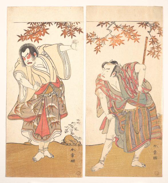The Actors Ichimura Uzaemon and Arashi Sangorō