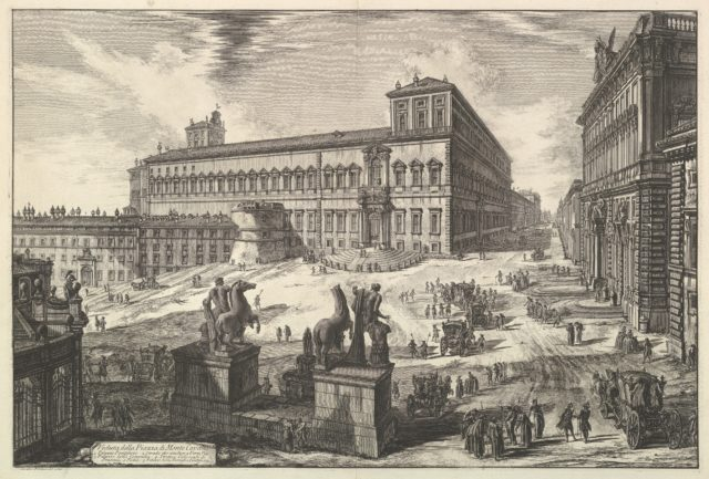 View of the Piazza di monte Cavallo, from Vedute di Roma (Roman Views)